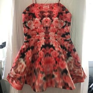Finders Keepers Coral Red Floral Print Dress